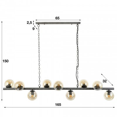 LifestyleFurn Hanglamp 'Jinte' 9-lamps, Ø15cm