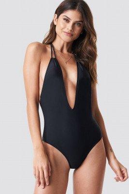 NA-KD Swimwear Halterneck Plunge Swimsuit - Black