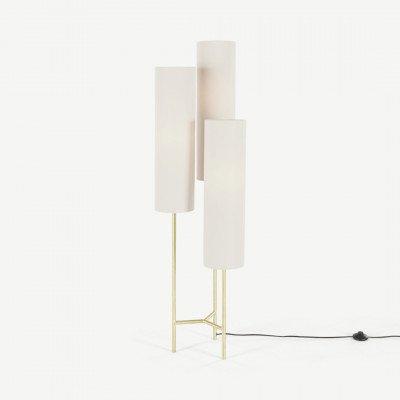 MADE.COM Lance staande lamp, wit en messing