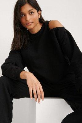 NA-KD Trend NA-KD Trend Organisch Sweatshirt Met Uitgesneden Hals - Black