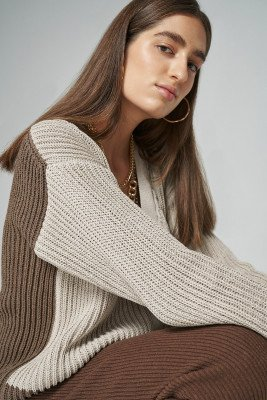 Stefanie Giesinger for nu-in 100% Recycled Contrast Hem Chunky Cardigan / XS / Beige