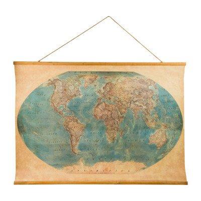 Xenos Vintage wereldkaart antiek - 100x70 cm