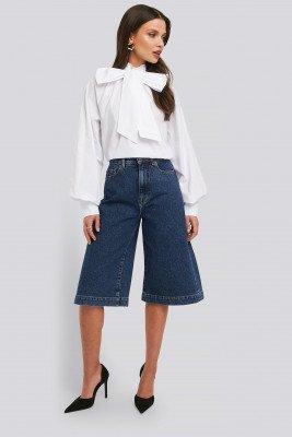 NA-KD Trend NA-KD Trend Mid Rise Denim Culottes - Blue