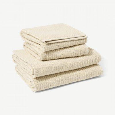 MADE.COM Ivo set van 4 handdoeken, 100% biologisch katoen, lichtbeige
