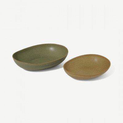MADE.COM Mangata set van 2 ovalen serveerschalen, mosgroen en terracotta