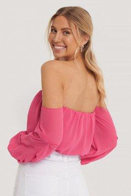 Pamela x NA-KD Reborn Pamela x NA-KD Reborn Gerecycleerd Off-shoulder Jurk Met Ballonmouwen - Pink