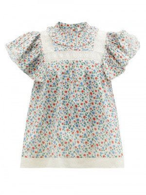 Matchesfashion Sea - Bubbie Ruffled-sleeve Floral-print Cotton Blouse - Womens - Pink Multi