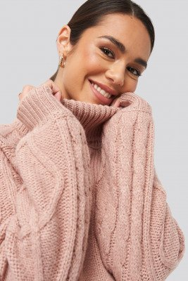 NA-KD NA-KD Cable Sleeve Knitted Sweater - Pink