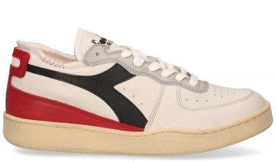 Diadora Heritage Diadora Heritage Mi Basket Row Cut Used Wit/Rood/Zwart Herensneakers