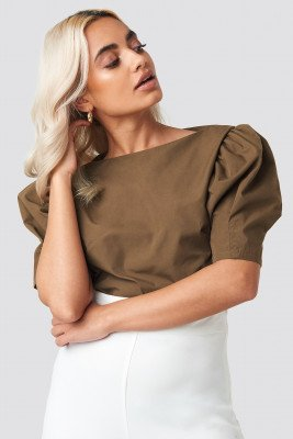 NA-KD Trend NA-KD Trend Fitted Puff Sleeve Top - Brown