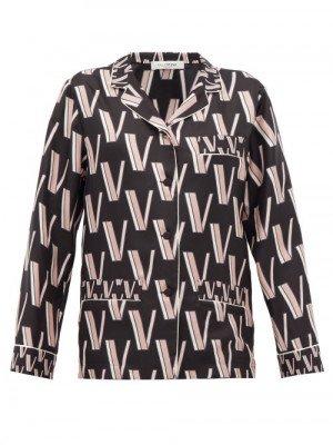 Matchesfashion Valentino - V-logo Silk-twill Pyjama Blouse - Womens - Black Print