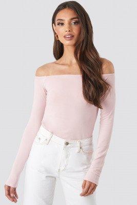 NA-KD Basic Long Sleeve Off Shoulder Top - Pink