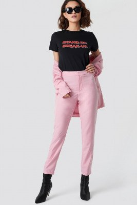 Emilie Briting x NA-KD Ankle Pants - Pink