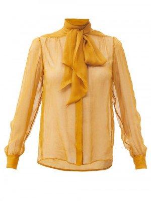 Matchesfashion Saint Laurent - Pussy-bow Silk-chiffon Blouse - Womens - Yellow