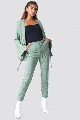 NA-KD Classic High Waist Suit Pants - Green