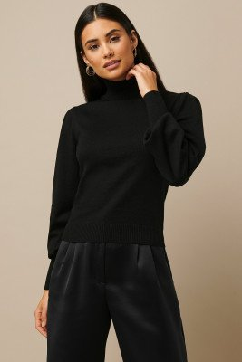 Nicki x NA-KD Nicki x NA-KD High Neck Puff Sleeve Sweater - Black