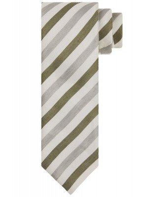 Profuomo Profuomo heren groene linnen-blend gestreepte stropdas