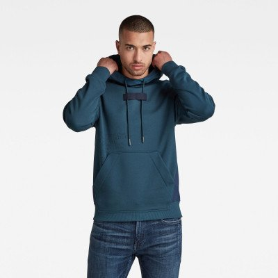 G-Star RAW Woven Mix Graphic Loose Sweater Capuchon - Donkerblauw - Heren