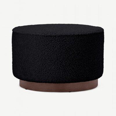 MADE.COM Hetherington poef, groot, zwart schapenvacht en donkergebeitst hout