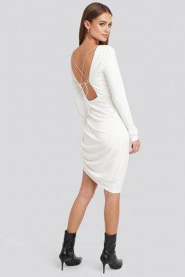 NA-KD Party NA-KD Party Long Sleeve Open Back Jersey Dress - White