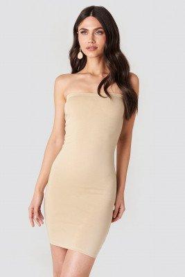 NA-KD Basic NA-KD Basic Basic Jersey Bandeau Dress - Beige