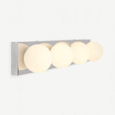 MADE.COM Apollo LED rechthoekige badkamerlamp, chroom en opaalglas