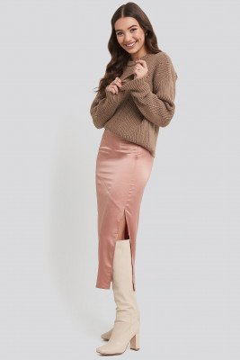 NA-KD Trend NA-KD Trend Split Seam Satin Midi Skirt - Pink