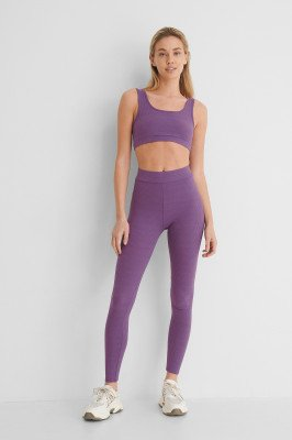 NA-KD Basic NA-KD Basic Zachte Geribde Legging Met Hoge Taille - Purple