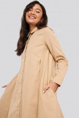 NA-KD NA-KD Asymmetrical Shirt Dress - Beige