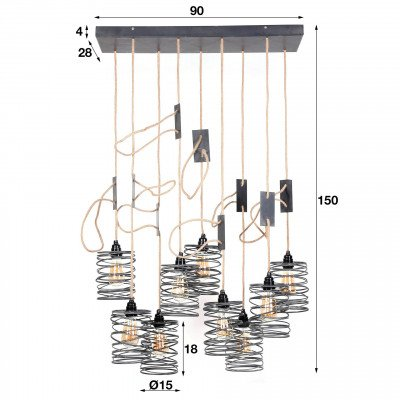 LifestyleFurn LifestyleFurn Hanglamp 'Elevate' 9-Lamps, kleur Metaal