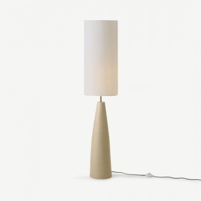 MADE.COM Vince staande lamp, roomwit keramiek met reactief glazuur en wit