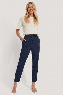 NA-KD NA-KD Drawstring Pinstriped Pants - Blue