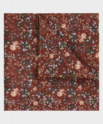 Michaelis Michaelis heren bloemenprint pochet roest