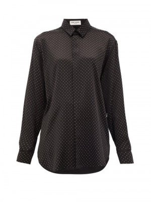 Matchesfashion Saint Laurent - Studded Silk Blouse - Womens - Black
