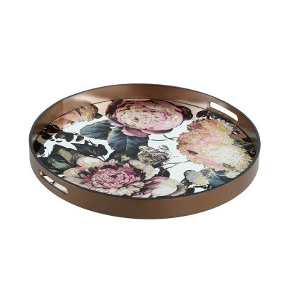 Firawonen.nl PTMD Jaylon mirror multiple bloem print tray round