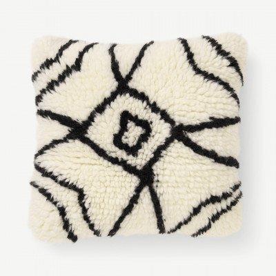 MADE.COM Berberstijl kussen, 45 x 45 cm, roomwit en zwart