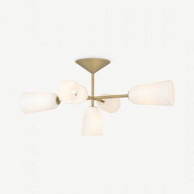 MADE.COM Lori inbouwplafondlamp, matglas en messing