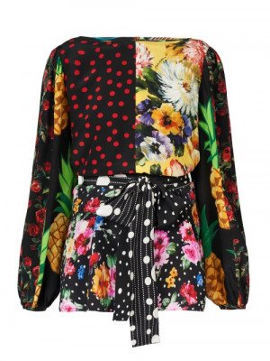 Matchesfashion Dolce & Gabbana - Belted Patchwork Silk-blend Crepe Blouse - Womens - Multi