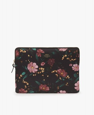 Wouf Wouf Laptop Sleeve 13 inch Black Flower