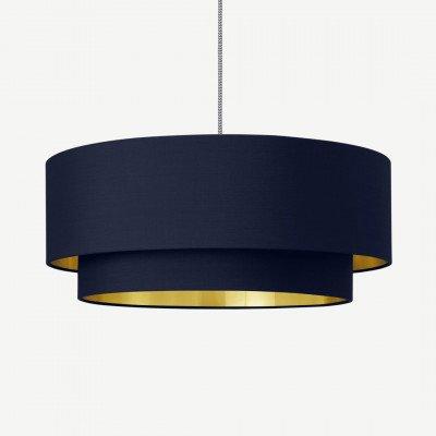 MADE.COM Oro lampenkap met lagen, donkerblauw en messing