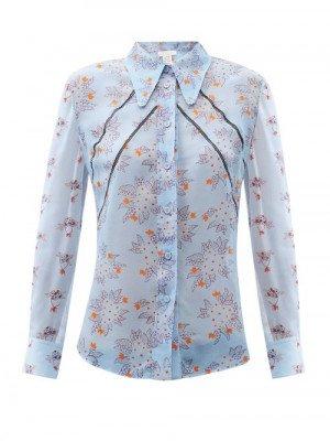 Matchesfashion Chloé - Floral-print Ladder-lace Silk-crepe Blouse - Womens - Blue Multi
