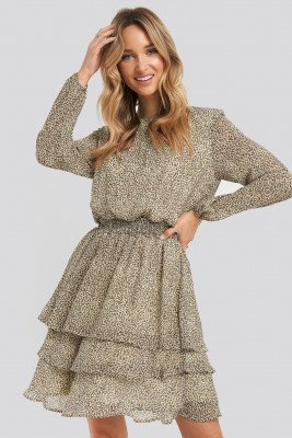 Sisters Point Sisters Point Nicoline-LS4 Dress - Brown,Beige
