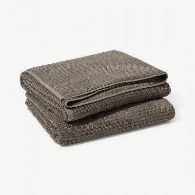 MADE.COM Ivo set van 2 badhanddoeken, 100% biologisch katoen, antraciet grijs
