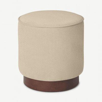 MADE.COM Hetherington kleine poef met houten onderkant, donkerbeige en donkergebeitst hout