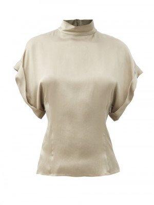 Matchesfashion Raey - High-neck Fold-sleeve Silk-satin Top - Womens - Grey