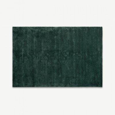 MADE.COM Merkoya extra groot luxe viscose vloerkleed 200 x 300 cm, pauwgroen