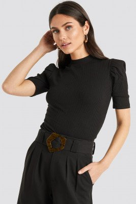 NA-KD Trend Short Puff Sleeve High Neck Ribbed Top - Black