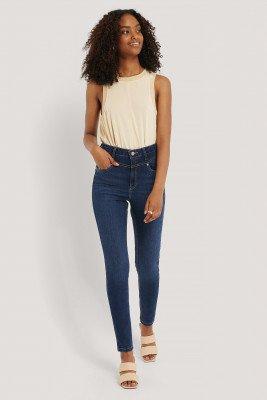 NA-KD NA-KD Front Yoke Skinny Jeans - Blue