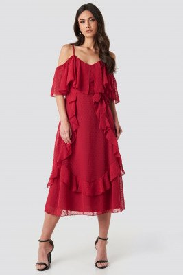 Trendyol Flywheel Detailed Midi Dress - Red