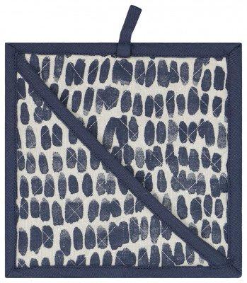 HEMA HEMA Pannenlap 21x21 Chambray Katoen Stip Blauw/wit